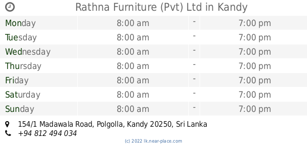 🕗 Rathna Furniture (Pvt) Ltd Kandy opening times, tel  +94 812 494 034