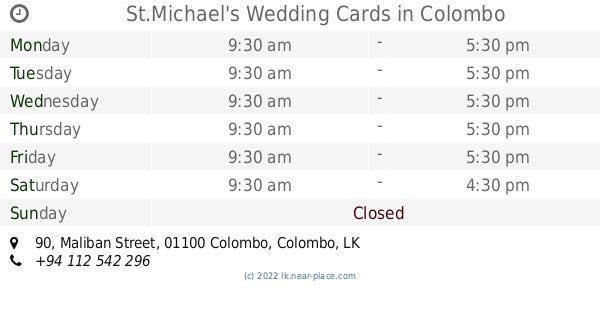 St Michael S Wedding Cards Colombo Opening Times 90 Maliban