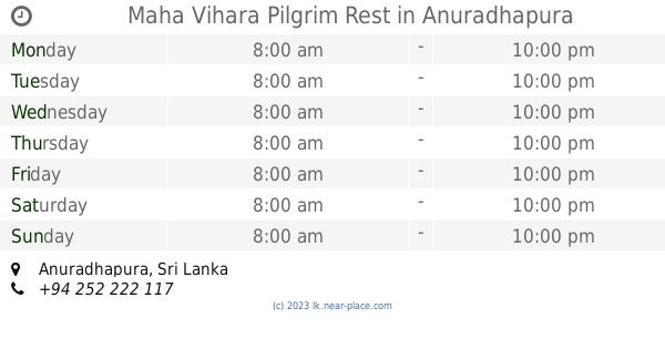 Opening Times Tel 94 252 222 117 Anuradhapura Sri Lanka